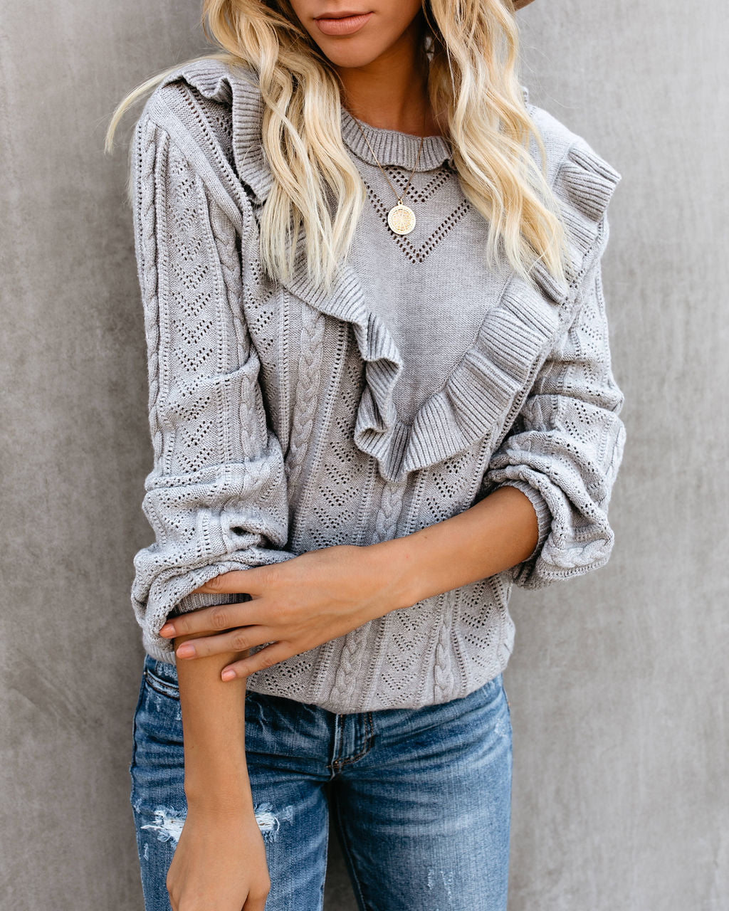 Nob Hill Ruffle Cable Knit Sweater - Heather Grey