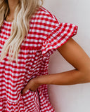 No Place Like Home Cotton Gingham Dress - Red - FINAL SALE