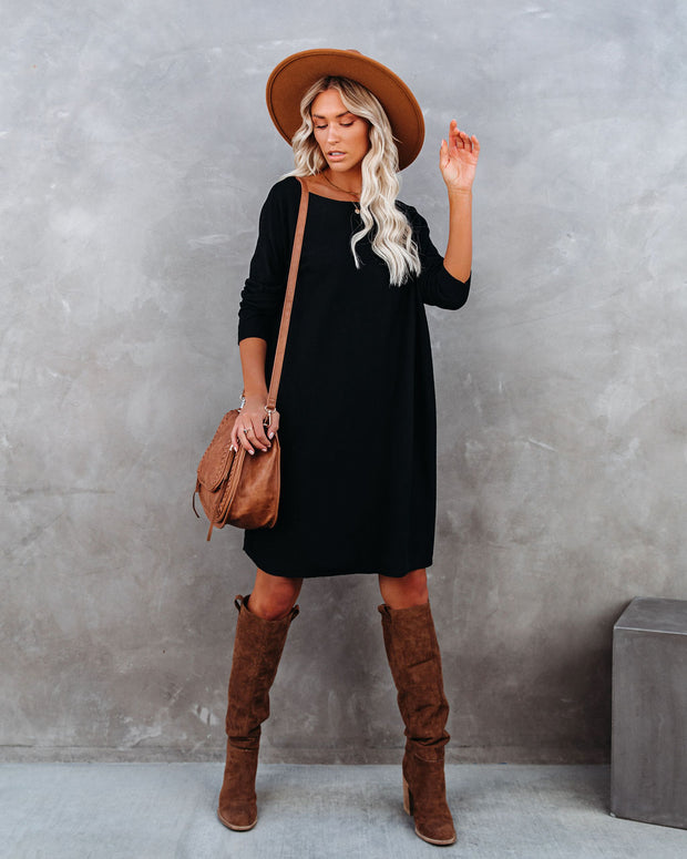 Northern Lights Boat Neck Sweater Dress - Black