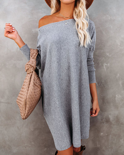 Northern Lights Boat Neck Sweater Dress - Charcoal