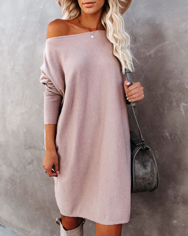 Northern Lights Boat Neck Sweater Dress - Cocoa Whip