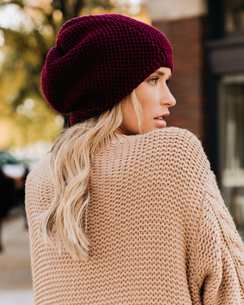 Northern Lights Slouch Beanie - Burgundy