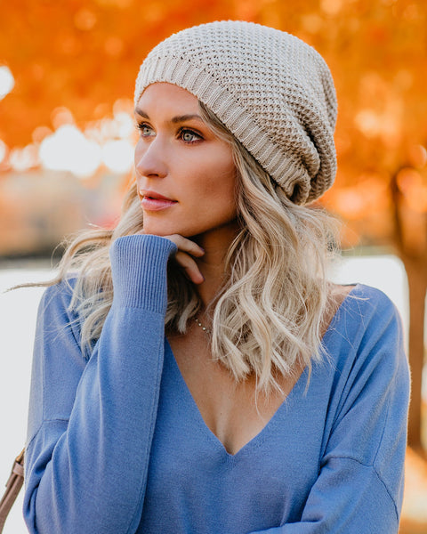 Northern Lights Slouch Beanie - Oatmeal