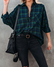 Norwalk Cotton Plaid Button Down Top