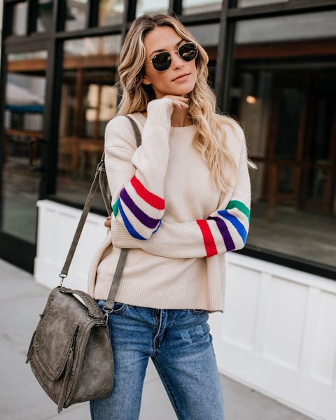 Nostalgia Striped Knit Sweater - Ivory