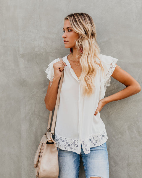 Notre Dame Button Down Contrast Top