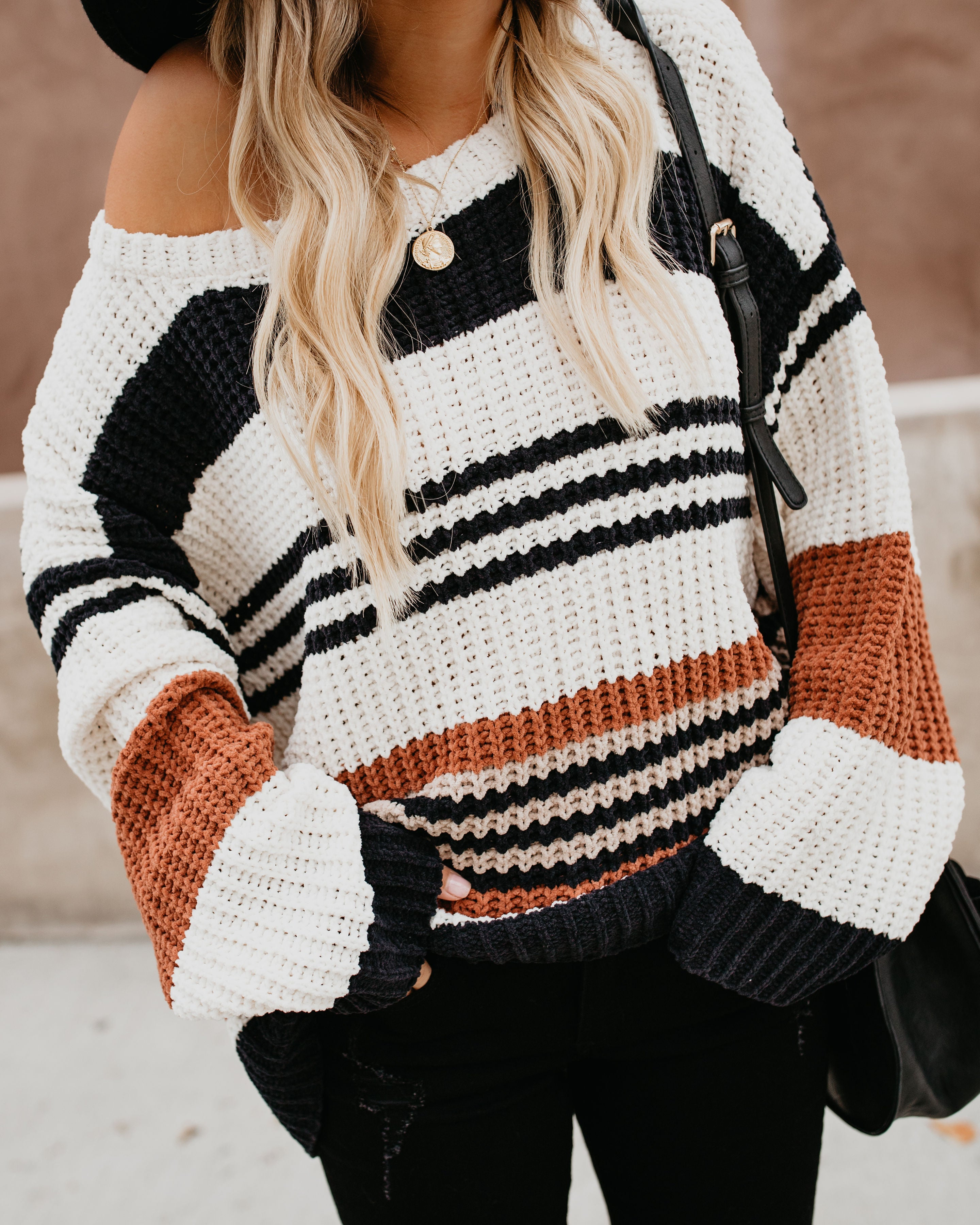 Novelty Striped Chenille Sweater – VICI 80aee43d2