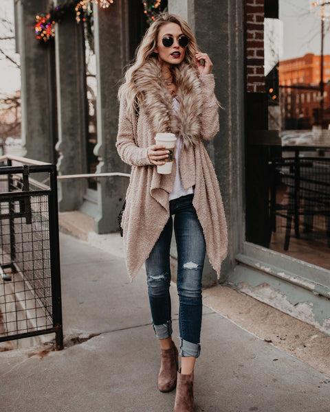 PREORDER - Coffee Talk Faux Fur Cardigan