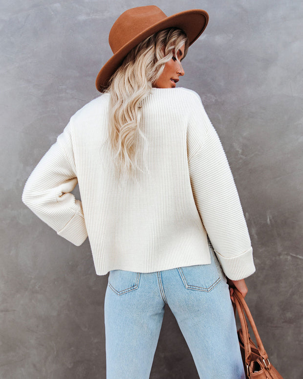 Nuts About You Mock Neck Cropped Knit Sweater - Cream view 2
