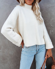Nuts About You Mock Neck Cropped Knit Sweater - Cream view 8