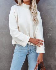 Nuts About You Mock Neck Cropped Knit Sweater - Cream view 3