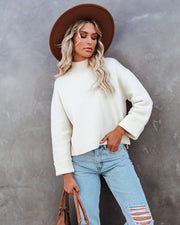 Nuts About You Mock Neck Cropped Knit Sweater - Cream view 7