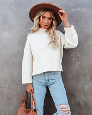 Nuts About You Mock Neck Cropped Knit Sweater - Cream view 10