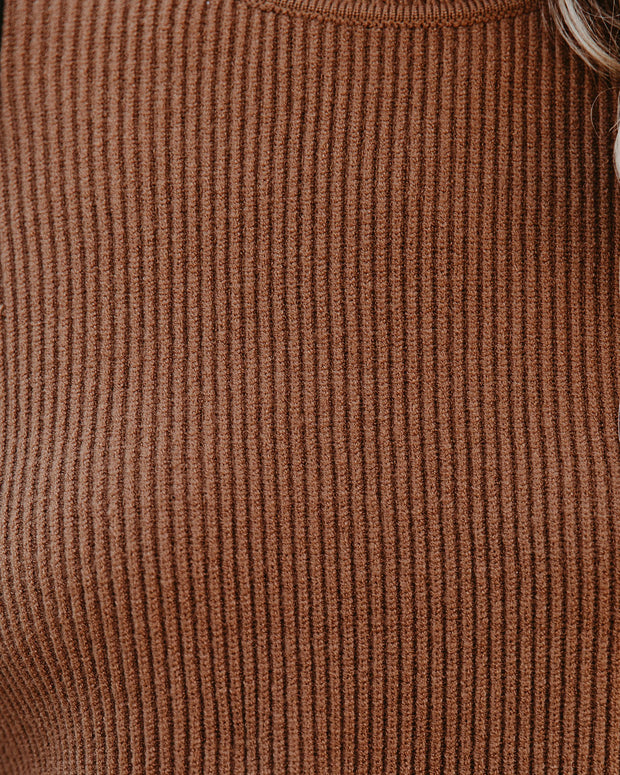 Nuts About You Mock Neck Cropped Knit Sweater - Mocha