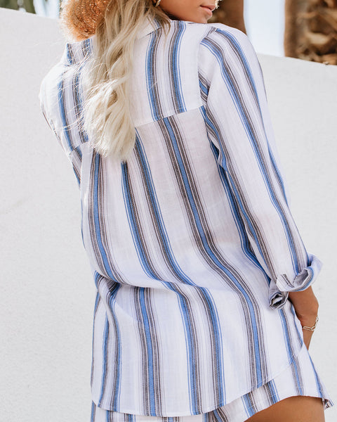 Oahu Striped Button Down Drape Blouse - FINAL SALE
