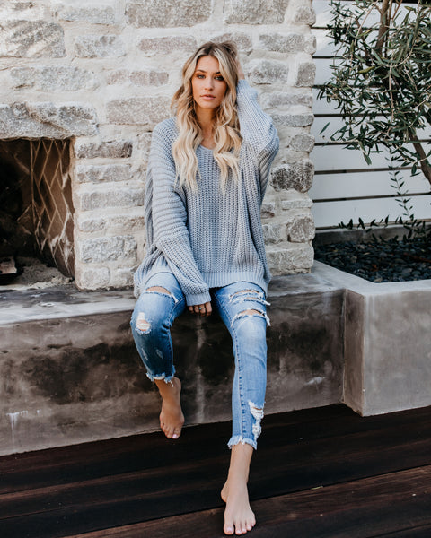 Oaklyn Knit Dolman Sweater - Dusty Blue - FINAL SALE