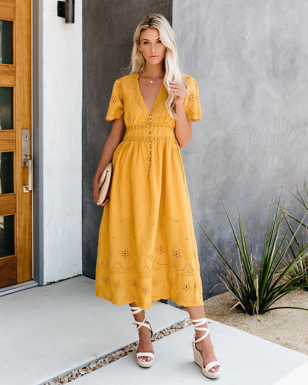 2ea2d82a Oasis Cotton Eyelet Button Down Dress - Mustard – VICI