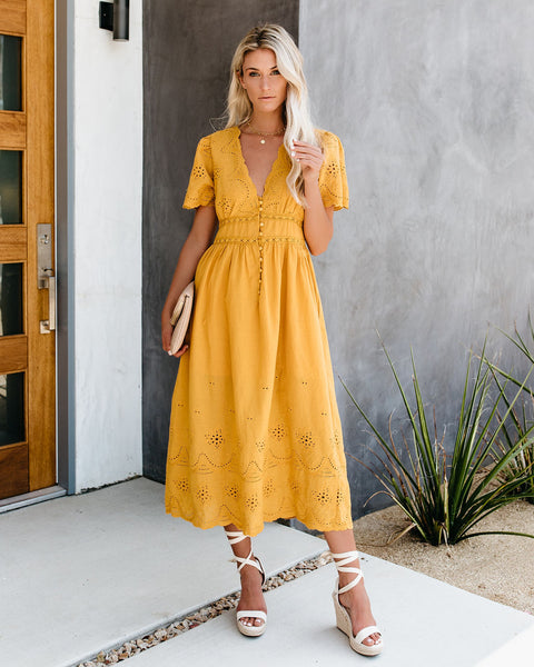 Oasis Cotton Eyelet Button Down Dress - Mustard