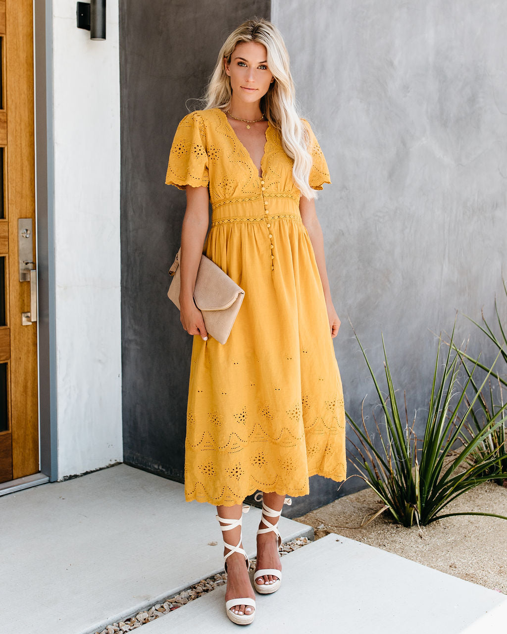 0384ae058f23 Oasis Cotton Eyelet Button Down Dress - Mustard – VICI