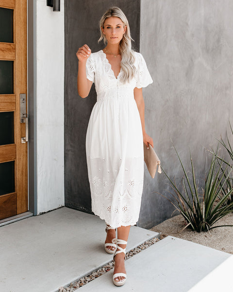 Oasis Cotton Eyelet Button Down Dress - White