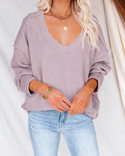 Oasis Relaxed Knit Top - Dusty Lavender