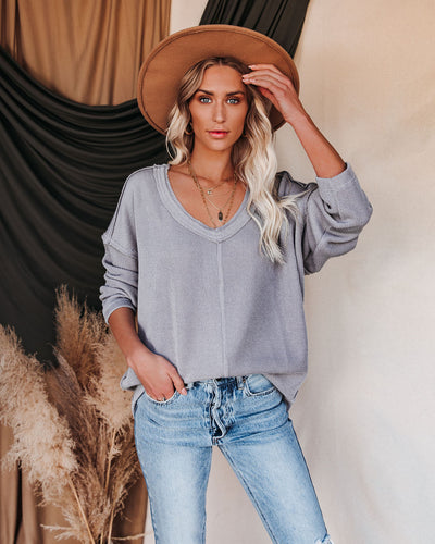 Oasis Relaxed Knit Top - Grey