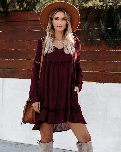 Oblivion Pocketed Crochet Babydoll Dress