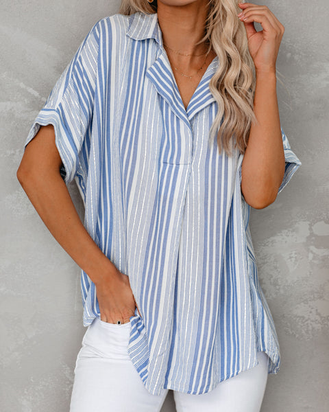 Ocean Avenue Short Sleeve Striped Collared Top