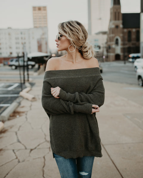 Chrissy Off The Shoulder Cotton Sweater - Olive