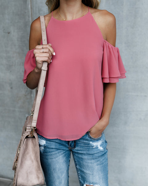 Easy Street Cold Shoulder Top - Rosy