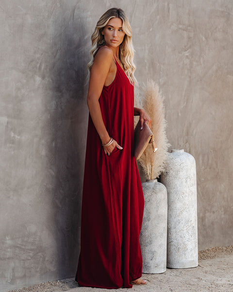 Olivian Pocketed Maxi Dress - Brick Red