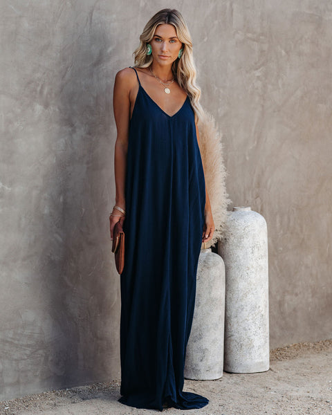 Olivian Pocketed Maxi Dress - Navy