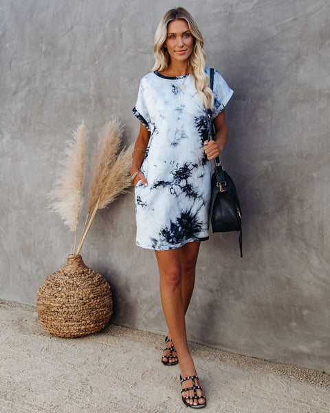 On A Wing Cotton Pocketed Tie Dye T-Shirt Dress