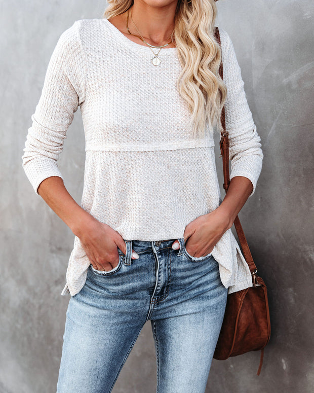 On Edge Long Sleeve Thermal Knit Top - Oat