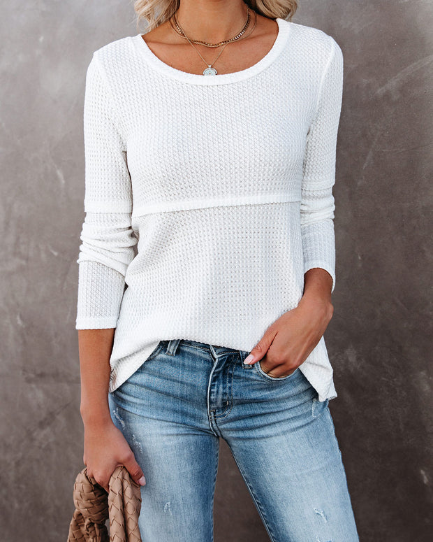 On Edge Long Sleeve Thermal Knit Top - White