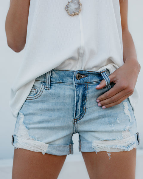 Open Road Distressed Cuffed Denim Shorts