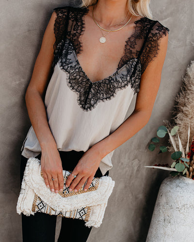 One More Night Lace Cami Tank - Stone
