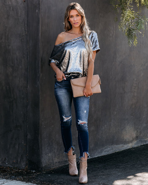 One Step Ahead Sequin Top - Pewter
