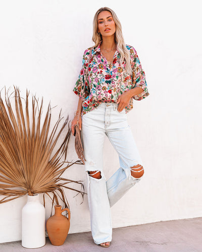 One Stop Shop Satin Floral Button Down Blouse
