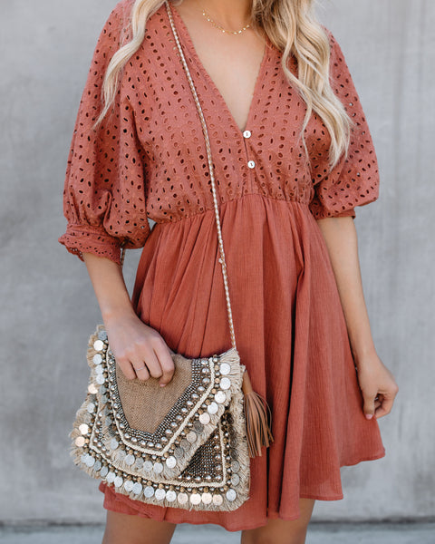 One With Nature Cotton Eyelet Boho Dress - Clay