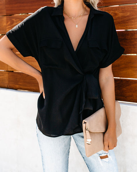 Only Contender Wrap Top - Black - FINAL SALE