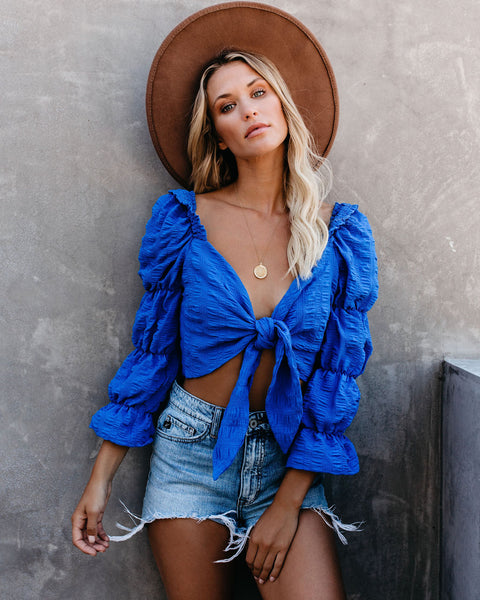 Only In Paradise Tiered Puff Sleeve Tie Top