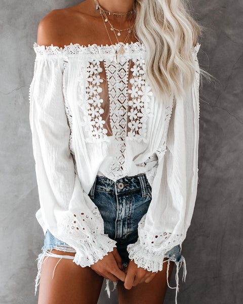 On My Own Off The Shoulder Crochet Eyelet Top