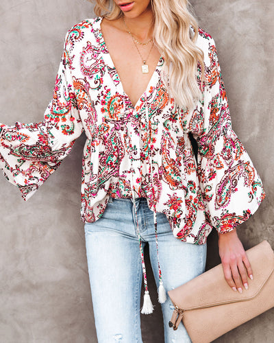 On Repeat Printed Button Down Babydoll Top