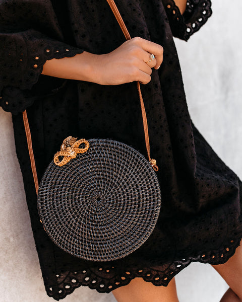On The Border Bamboo Woven Crossbody Bag - Black
