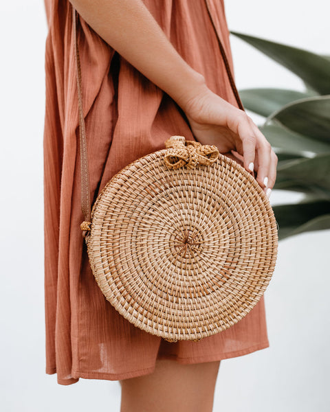 On The Border Bamboo Woven Crossbody Bag - Natural