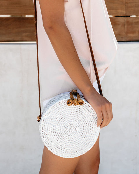 On The Border Bamboo Woven Crossbody Bag - White
