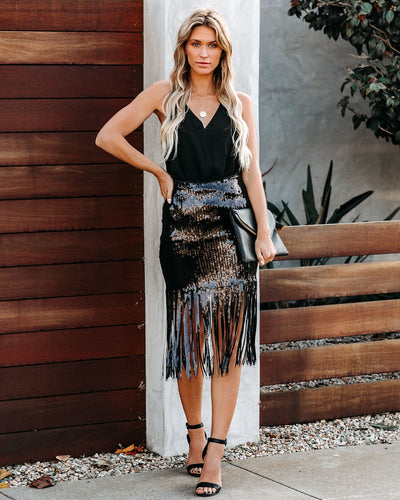 On The Dance Floor Sequin Tassel Skirt - Black