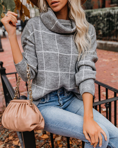 On The Grid Turtleneck Sweater - Grey