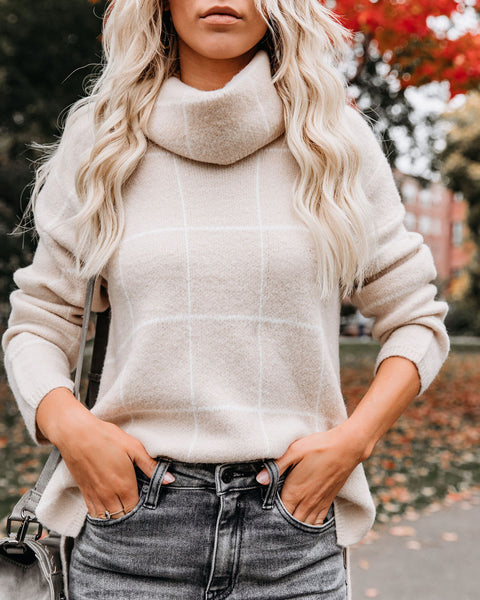 On The Grid Turtleneck Sweater - Taupe